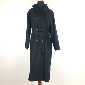 London Fog Black Double Breasted Trench Coat